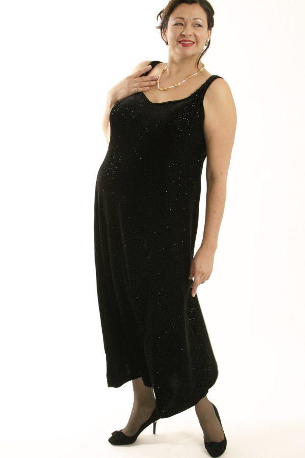 Plus Size Sheath Slip Dress Lycra Velvet Black Gold Sparkles 14 – 36