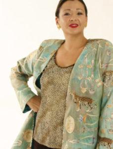 Plus Size Special Occasion Jacket Cheetah Print Swarovski Aqua Gold