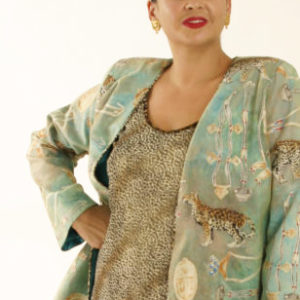 Plus Size Special Occasion Jacket Cheetah Print Swarovski Aqua Gold Ivory Sizes 14 – 32