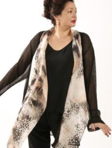 Plus Size Mother of Bride Drape Jacket Silk Leopard Peach Silver