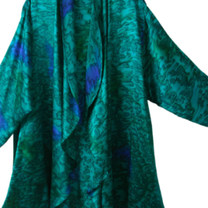Plus Size Mother of Bride Jacket Emerald Green Royal Blue Silk Charmeuse Water Print