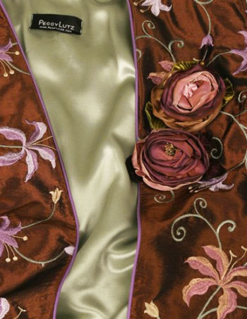 Plus Size Mother of Bride Coat Floral Embroidered Taffeta Copper
