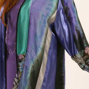Formal Artwear Jacket Satin Embroidered Beaded Purple Turquoise Teal Size 30/32