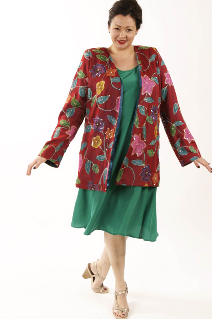 Plus Size Special Occasion Jacket Handpainted Sequins Silk Red Turquoise