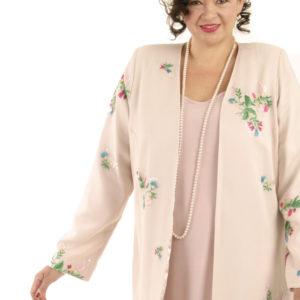 Mother Bride Formal Jacket Wildflowers Embroidered Beaded Silk Pink Sizes 14 – 32
