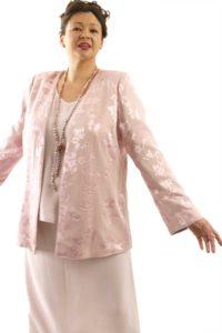 Plus Size Mother of Bride Jacket Silk Floral Diamante Pink