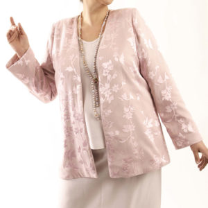 Plus Size Mother Bride Formal Jacket Silk Floral Diamante Pink Custom Made Sizes 14 – 32
