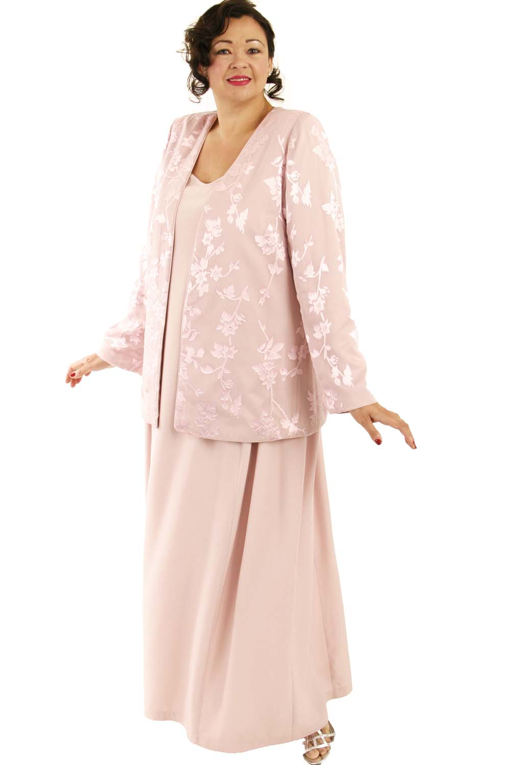 Plus Size Mother Bride Formal Jacket Silk Floral Diamante Pink Custom Made  Sizes 14 - 32
