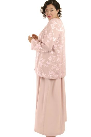 Plus Size Mother of Bride Jacket Silk Floral Diamante Pink