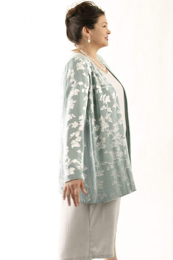 Mother of Bride Tailored Jacket Floral Silk Diamante Sage Silver Sizes 14 – 32