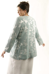 Mother of Bride Tailored Jacket Floral Silk Diamante Sage Silver Sizes 14 - 32