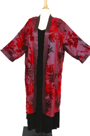 Plus Size Special Occasion Kimono Jacket Red Burgundy Teal Silk Velvet Burnout Size 18/20