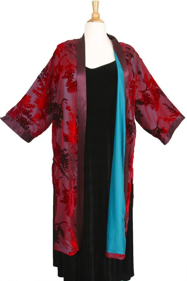 Plus Size Special Occasion Kimono Jacket Red Burgundy Teal Silk Velvet Burnout Size 18/20