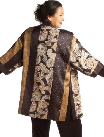 Plus Size Special Occasion Kimono Jacket Artwear Gold Ivory Black