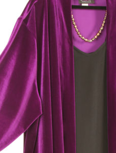 Plus Size Daywear Kimono Jacket Lycra Velvet Cerise