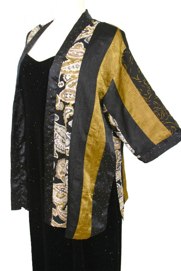 Plus Size Special Occasion Kimono Jacket Artwear Gold Ivory Black