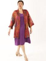 Plus Size Mother of Bride Kimono Jacket Floral Burnout Ruby Copper