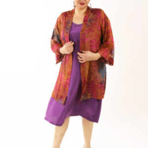 Plus Size Mother of Bride Kimono Jacket Floral Burnout Ruby Copper