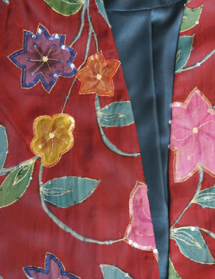 Plus Size Special Occasion Jacket Handpainted Sequins Silk Red Turquoises Silk Red Turquoise Orange