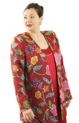 Special Occasion Jacket Handpainted Sequins Silk Red Turquoise Size 14/16