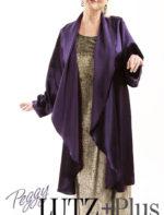 Plus Size Formal Evening Drape Coat Purple Rayon Satin
