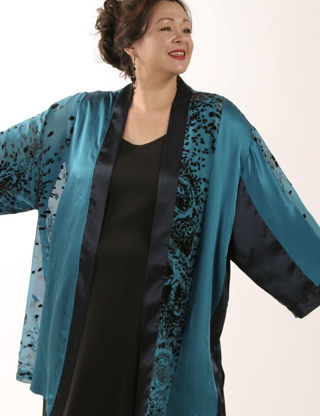 Plus Size Designer Kimono Jacket Artwear Silk Burnout Teal Chocolate