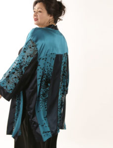 Plus Size Designer Kimono Jacket Artwear Silk Burnout Teal Chocolate