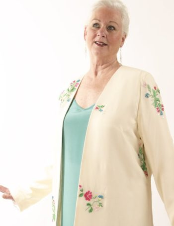 Mother of Bride Jacket Embroidered Beaded Floral Silk Ivory Brights Sizes 14 – 32