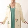 Mother of Bride Jacket Embroidered Beaded Floral Silk Ivory Brights Sizes 14 - 32