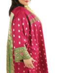 Plus Size Occasion Kimono Coat Sari Silk Fuschia Green Gold