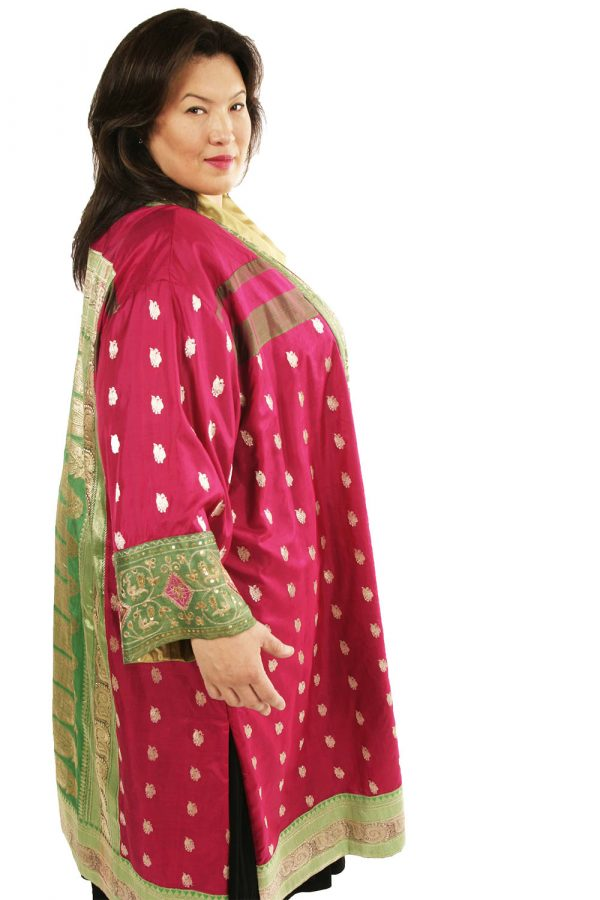 Plus Size Occasion Kimono Coat Sari Silk Fuschia Green Gold