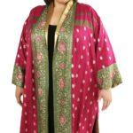 Plus Size Formal Kimono Coat Sari Silk Artwear Fuschia Green Gold