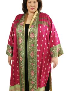 Plus Size Formal Kimono Coat Sari Silk Artwear Fuschia Green Gold