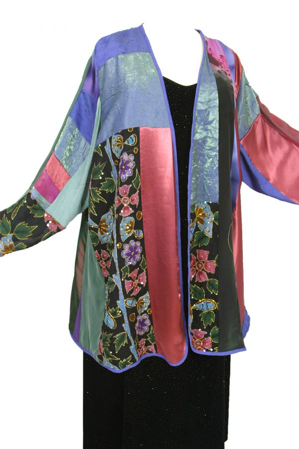 Plus Size Mother of Bride Artwear Jacket Green Rose Purple Embroidered Beaded Silk Size 30/32