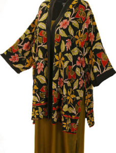 Plus Size Mother of Bride Kimono Jacket Beaded Silk Floral Naturals