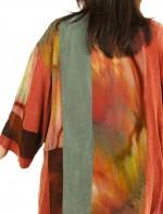 Plus Size Special Occasion Kimono Jacket Silk Artwear Caramel Sage