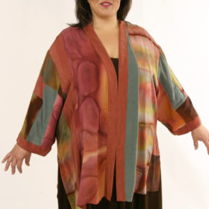 Mother of Bride Dressy Kimono Jacket Artwear Silk Caramel Sage Size 26/28
