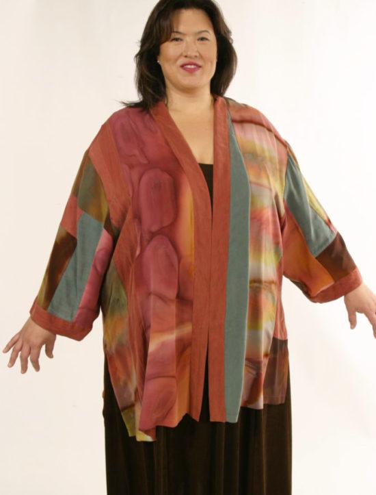 Special Occasion Kimono Jacket Silk Artwear Caramel Sage Size 26/28
