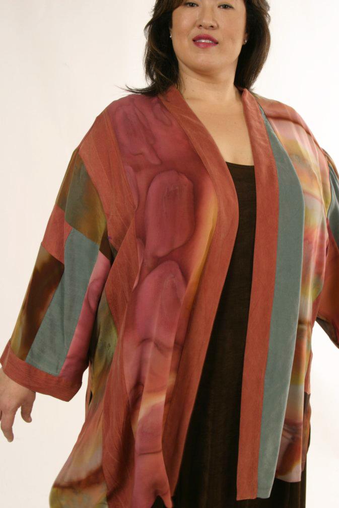 4cdd06f257d Plus Size Special Occasion Kimono Jacket Silk Artwear Caramel Sage ...