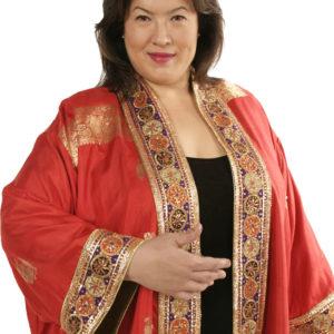 Plus Size Special Occasion Kimono Coat Sari Silk Red Gold