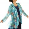 Plus Size Mother of Bride Drape Jacket Silk Floral Turquoise Ivory