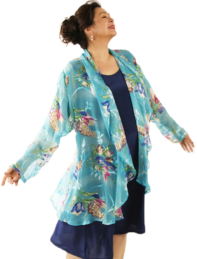 73f72c1045f Plus Size Mother of Bride Drape Jacket Silk Floral Turquoise Ivory ...