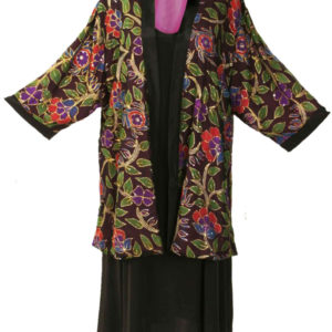 Plus Size Special Occasion Kimono Jacket Sequins Silk Red Purple