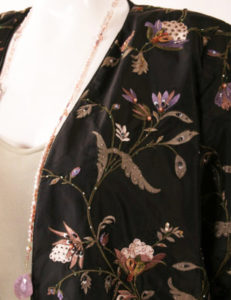 Plus Size Special Occasion Formal Beaded Jacket Silk Black Ivory