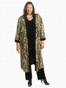 Calf-Length Kimono Aboriginal Print Slither (Plus-Size)