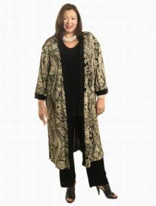 Calf-Length Kimono Aboriginal Print Slither (Plus-Size)