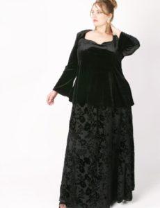 Ball Skirt Black Crinkle Floral Silk Velvet (Plus-Size)