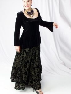 Ball Skirt Olive Crinkle Floral Silk Velvet (Plus-Size)