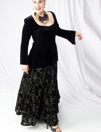 Ball Skirt Olive Crinkle Floral Silk Velvet (Plus-Size)