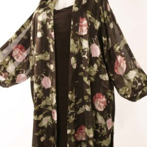 Plus Size Mother of Bride Kimono Coat Silk Roses Chocolate Pink